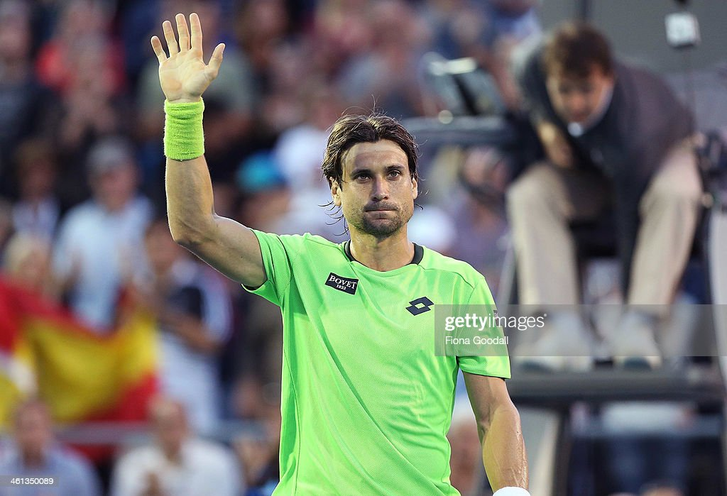 David Ferrer of Spain salutes the crowd after defeating Donald Young of USA during day three of the Heineken Open at ASB Tennis Centre on January 8, 2014 in Auckland, New Zealand.