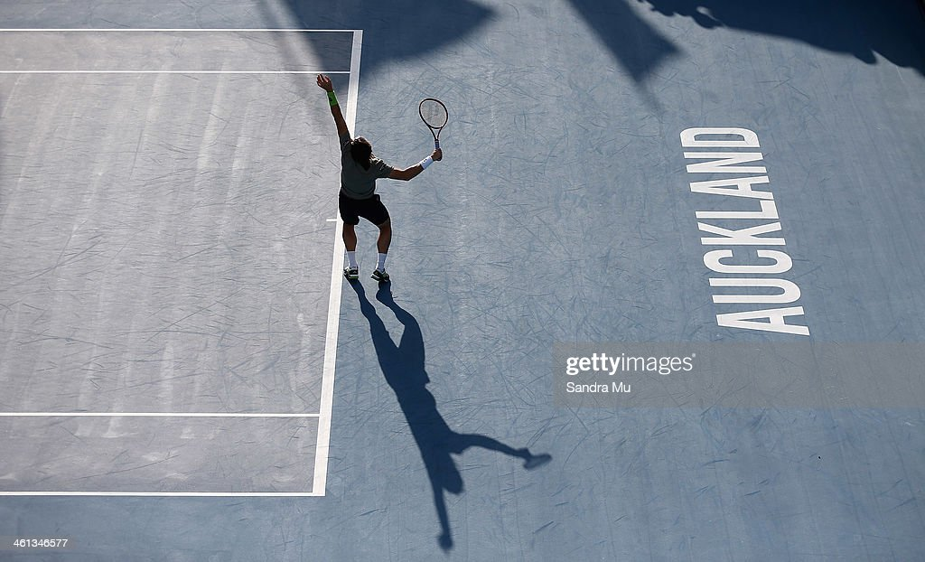 <a gi-track='captionPersonalityLinkClicked' href=/galleries/search?phrase=David+Ferrer&family=editorial&specificpeople=208197 ng-click='$event.stopPropagation()'>David Ferrer</a> of Spain serves during his match against Donald Young of USA on day three of the Heineken Open at ASB Tennis Centre on January 8, 2014 in Auckland, New Zealand.