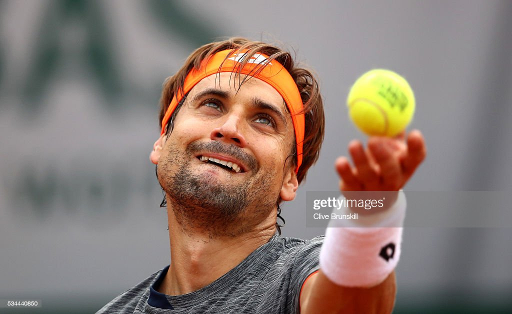 <a gi-track='captionPersonalityLinkClicked' href=/galleries/search?phrase=David+Ferrer&family=editorial&specificpeople=208197 ng-click='$event.stopPropagation()'>David Ferrer</a> of Spain serves during the Men's Singles second round match against Juan Monaco of Argentina on day five of the 2016 French Open at Roland Garros on May 26, 2016 in Paris, France.