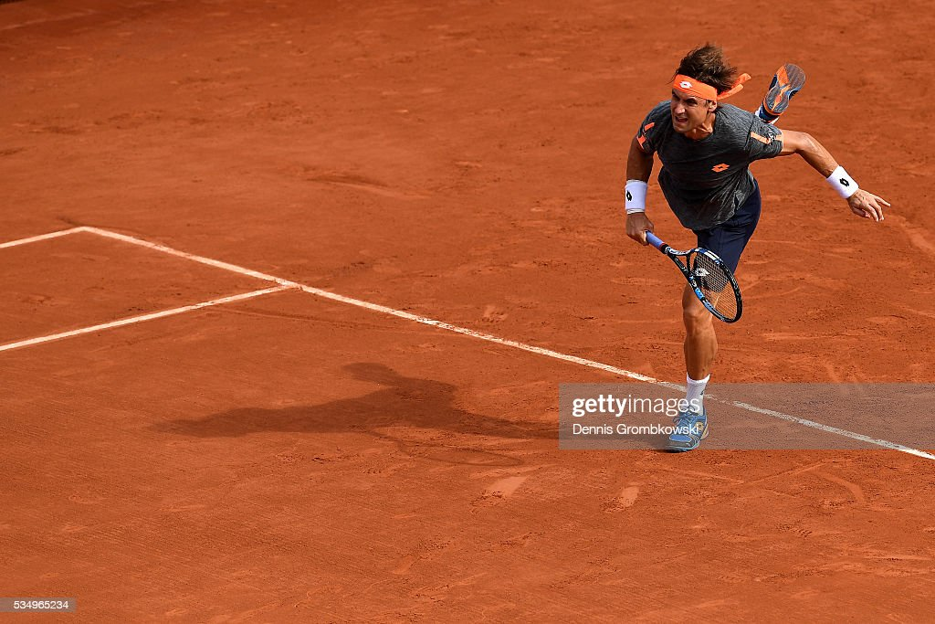 <a gi-track='captionPersonalityLinkClicked' href=/galleries/search?phrase=David+Ferrer&family=editorial&specificpeople=208197 ng-click='$event.stopPropagation()'>David Ferrer</a> of Spain serves during the Men's Singles third round match against Feliciano Lopez of Spain on day seven of the 2016 French Open at Roland Garros on May 28, 2016 in Paris, France.