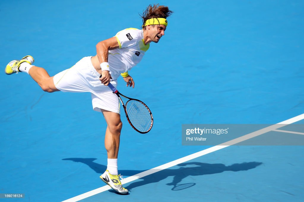 <a gi-track='captionPersonalityLinkClicked' href=/galleries/search?phrase=David+Ferrer&family=editorial&specificpeople=208197 ng-click='$event.stopPropagation()'>David Ferrer</a> of Spain serves in his quarterfinal match against Lukas Lacko of Slovakia during day four of the Heineken Open at the ASB Tennis Centre on January 10, 2013 in Auckland, New Zealand.