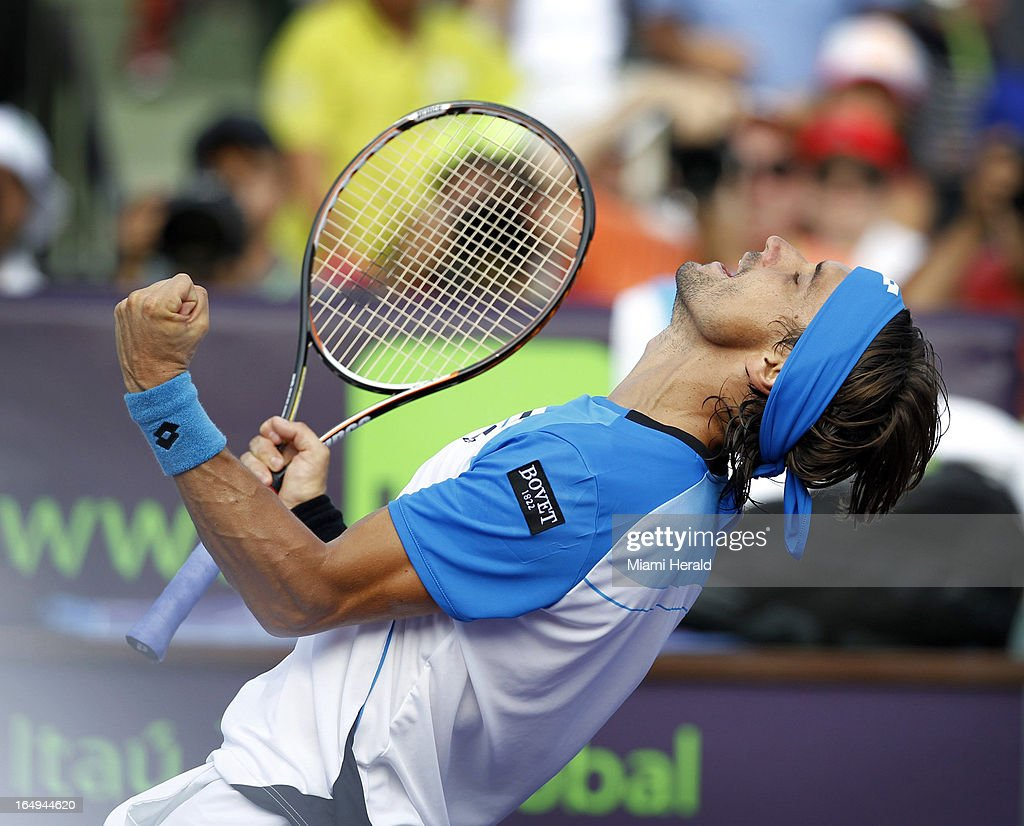 David Ferrer reacts after defeating Tommy Haas, 4-6, 6-2, 6-3, in a men's semifinal match at the Sony Open tennis tournament at Crandon Park in Key Biscayne, Florida, Friday, March 29, 2013.