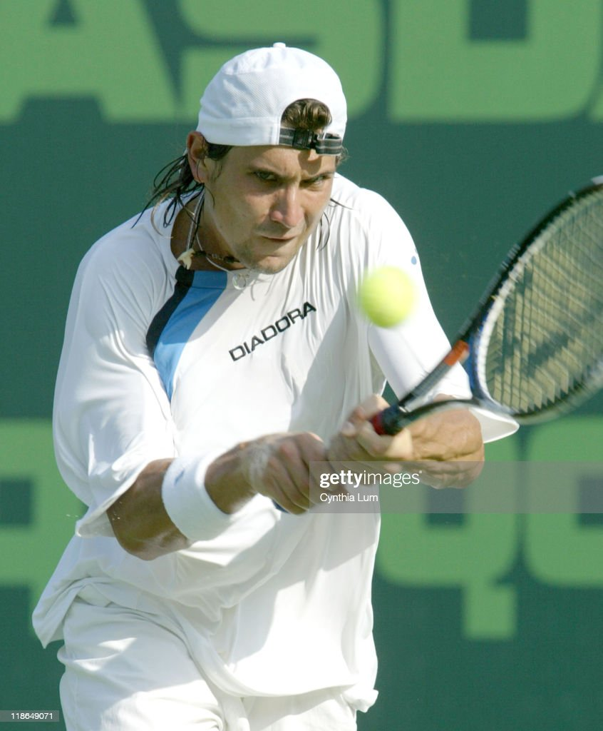 <a gi-track='captionPersonalityLinkClicked' href=/galleries/search?phrase=David+Ferrer&family=editorial&specificpeople=208197 ng-click='$event.stopPropagation()'>David Ferrer</a> (ESP) through to the semi-final at the Nasdaq-100 Open, at Key Biscayne, FL, defeating <a gi-track='captionPersonalityLinkClicked' href=/galleries/search?phrase=Dominik+Hrbaty&family=editorial&specificpeople=206181 ng-click='$event.stopPropagation()'>Dominik Hrbaty</a> 6-2, 6-3 in their quarter-final match on March 30, 2005.