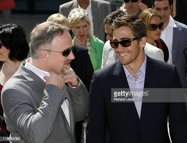 David Fincher and Jake Gyllenhaal during 2007 Cannes Film Festival 'Zodiac' Photocall at Palais de Festival in Cannes France