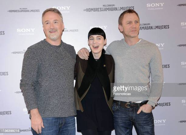 David Fincher Rooney Mara and Daniel Craig attend a photocall for 'Millenium Los Hombres Que No Amaban a las Mujeres' at the Villamagna Hotel on...