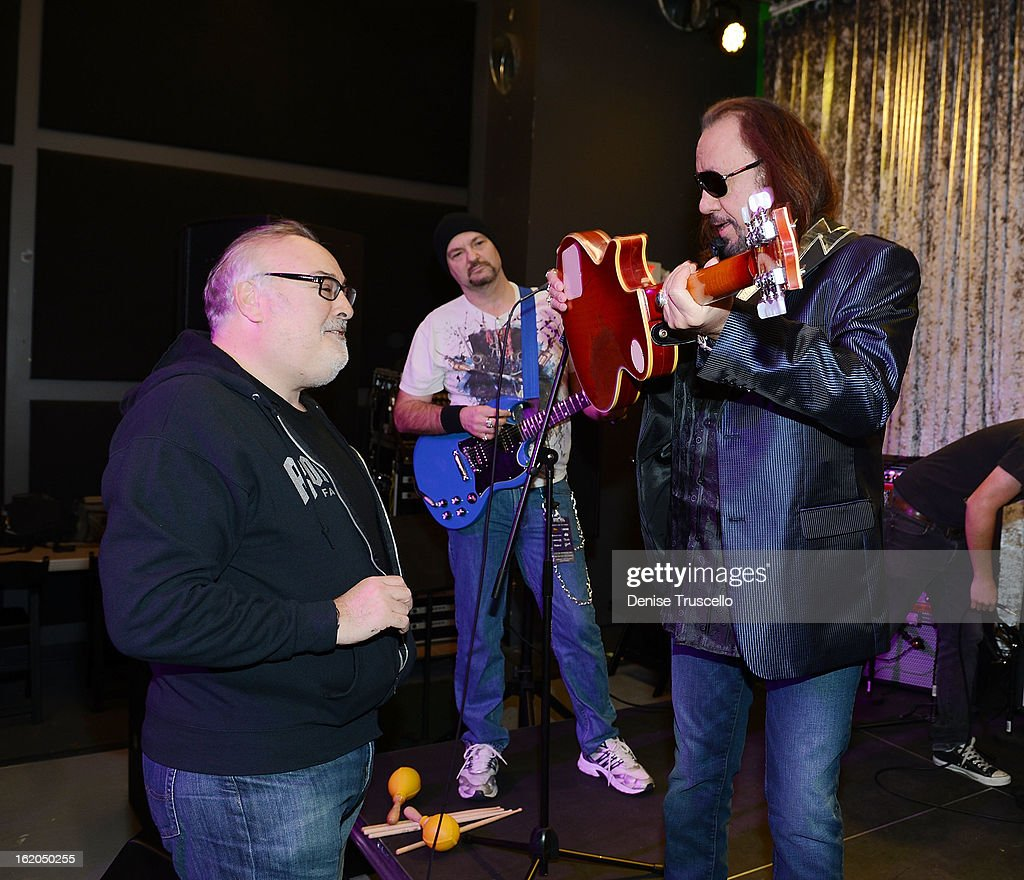 David Fishof and <a gi-track='captionPersonalityLinkClicked' href=/galleries/search?phrase=Ace+Frehley&family=editorial&specificpeople=226761 ng-click='$event.stopPropagation()'>Ace Frehley</a> during Rock 'n' Roll Fantasy Camp in Las Vegas on February 18, 2013 in Las Vegas, Nevada.