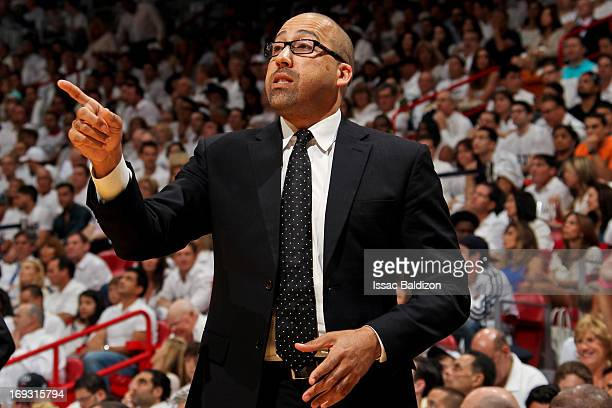 David Fizdale assistant coach of the Miami Heat directs his team against the Indiana Pacers in Game One of the Eastern Conference Finals during the...