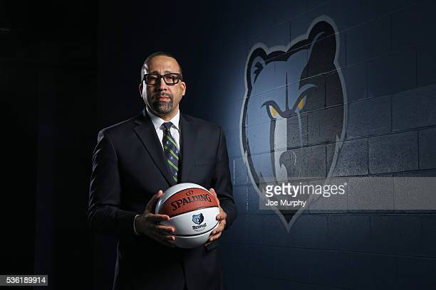 David Fizdale head coach of the Memphis Grizzlies poses for a portrait before a press conference on May 31 2016 at FedExForum in Memphis Tennessee...