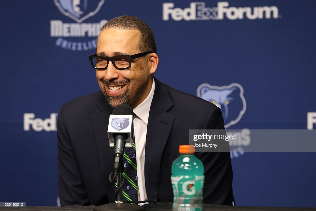 <a gi-track='captionPersonalityLinkClicked' href=/galleries/search?phrase=David+Fizdale&family=editorial&specificpeople=2193396 ng-click='$event.stopPropagation()'>David Fizdale</a> head coach of the Memphis Grizzlies speaks during a press conference on May 31, 2016 at FedExForum in Memphis, Tennessee.
