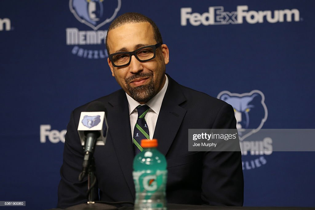 David Fizdale head coach of the Memphis Grizzlies speaks during a press conference on May 31, 2016 at FedExForum in Memphis, Tennessee.