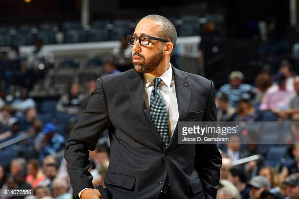 David Fizdale of the Memphis Grizzlies looks on against the Philadelphia 76ers in a preseason game on October 11 2016 at FedEx Forum in Memphis...