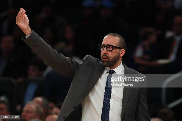 David Fizdale of the Memphis Grizzlies looks on against the New York Knicks during the first half at Madison Square Garden on October 29 2016 in New...