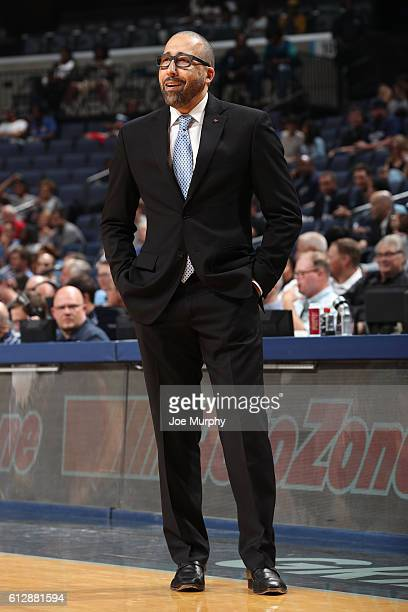 David Fizdale of the Memphis Grizzlies looks on against the Orlando Magic during a NBA preseason game on October 3 2016 at FedExForum in Memphis...