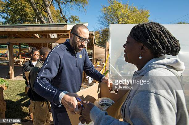 David Fizdale of the Memphis Grizzlies participates in a food giveaway on November 19 2016 at Greenleaf Farms in Memphis Tennessee NOTE TO USER User...