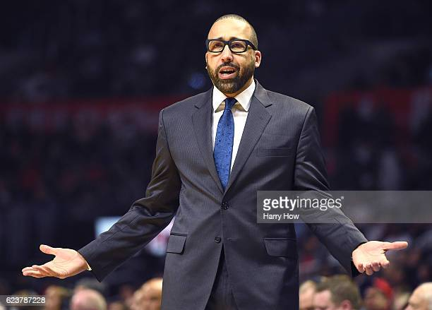 David Fizdale of the Memphis Grizzlies reacts to the officials during the first half against the LA Clippers at Staples Center on November 16 2016 in...