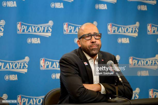 David Fizdale of the Memphis Grizzlies talks to the media after the game against the San Antonio Spurs in Game One of Round One during the 2017 NBA...