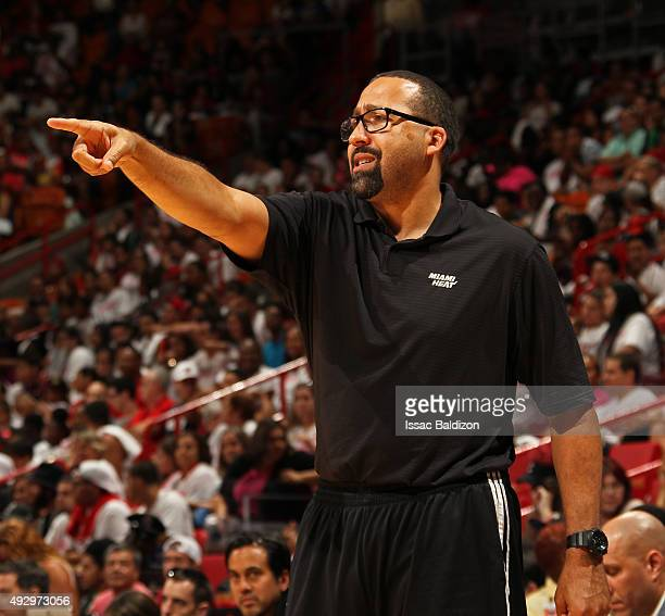 David Fizdale of the Miami Heat coaches during a scrimmage game for the public at the American Airlines Arena in Miami Florida on October 15 2015...