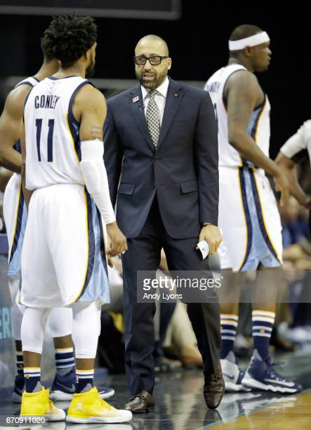David Fizdale the head coach of the Memphis Grizzlies gives instructions to Mike Conley against the San Antonio Spurs in game three of the Western...