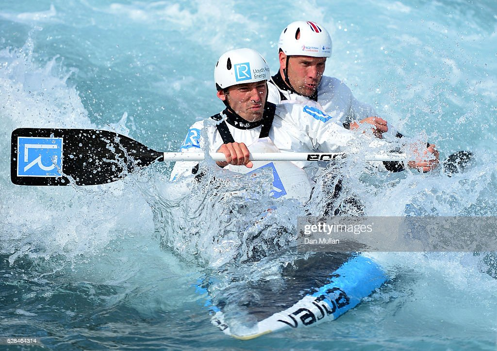 David Florence (front) and Richard Hounslow of Great Britain train in the C2 category during the Team GB Canoe Slalom Olympic Media Day at the Lee Valley White Water Centre on May 05, 2016 in London, England.