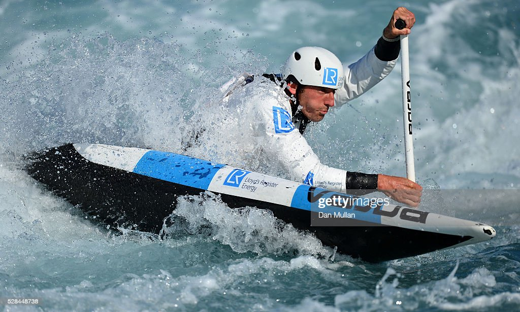 <a gi-track='captionPersonalityLinkClicked' href=/galleries/search?phrase=David+Florence&family=editorial&specificpeople=4145655 ng-click='$event.stopPropagation()'>David Florence</a> of Great Britain trains in the C1 category during the Team GB Canoe Slalom Olympic Media Day at the Lee Valley White Water Centre on May 05, 2016 in London, England.