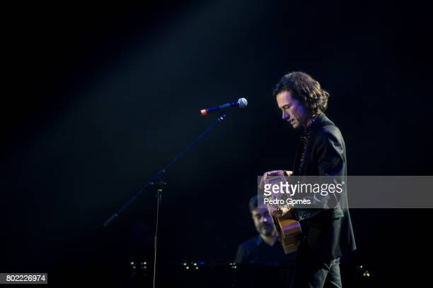 David Fonseca performs during Juntos por Todos solidarity concert for the victims of the forest fires in the Pedrogao Grande region of Portugal on...