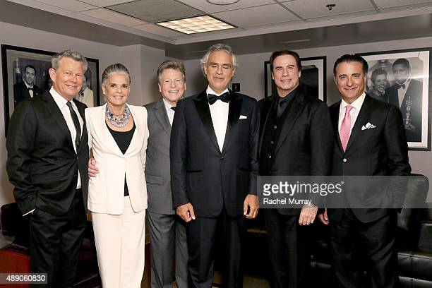 David Foster Ali MacGraw Ryan O'Neal Andrea Bocelli John Travolta and Andy Garcia backstage before Andrea Bocelli gives a onceinalifetime performance...