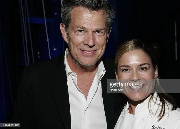 David Foster and Iron Chef Cat Cora at the Andrea Bocelli and David Foster Celebrate a Special Evening event at The Bon Appetit Supper Club on...