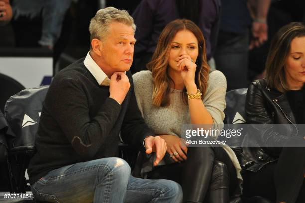 David Foster and Katharine McPhee attend a basketball game between the Los Angeles Lakers and the Memphis Grizzlies at Staples Center on November 5...