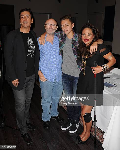 David Frangioni Phil Collins Nicholas Collins and Orianne Collins attend the Little Dreams Foundation auditions at Markee Studios on June 20 2015 in...