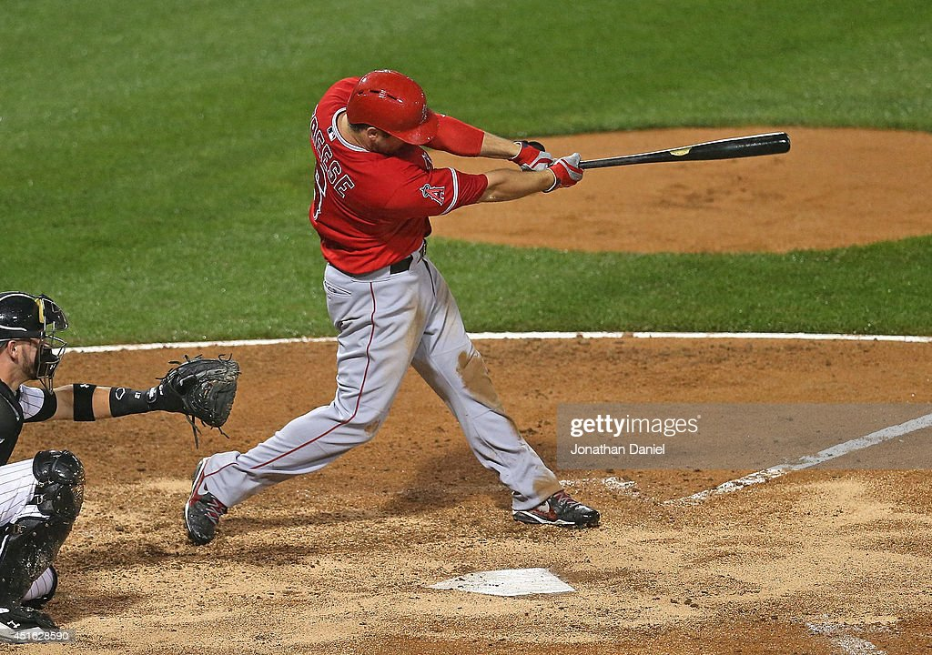 David Freese #6 of the Los Angeles Angels of Anaheim hits a solo home run in the 7th inning against the Chicago White Sox at U.S. Cellular Field on July 2, 2014 in Chicago, Illinois. The White Sox defeated the Angels 3-2.
