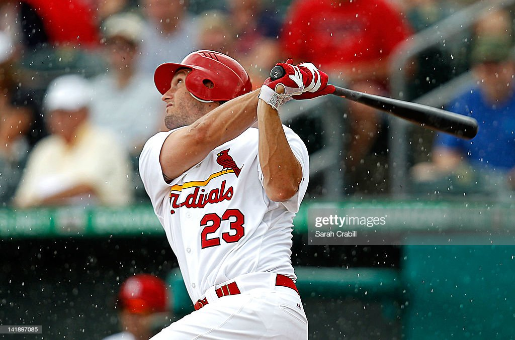 <a gi-track='captionPersonalityLinkClicked' href=/galleries/search?phrase=David+Freese+-+Baseball+Player&family=editorial&specificpeople=4948315 ng-click='$event.stopPropagation()'>David Freese</a> #23 of the St. Louis Cardinals bats during a game against the Minnesota Twins at Roger Dean Stadium on March 25, 2012 in Jupiter, Florida. The St. Louis Cardinals defeated the Minnesota Twins 9-2.