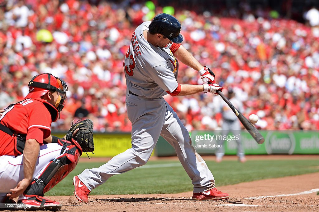 <a gi-track='captionPersonalityLinkClicked' href=/galleries/search?phrase=David+Freese+-+Baseball+Player&family=editorial&specificpeople=4948315 ng-click='$event.stopPropagation()'>David Freese</a> #23 of the St. Louis Cardinals connects for a solo home run in the seventh inning against the St. Louis Cardinals at Great American Ball Park on August 4, 2013 in Cincinnati, Ohio. St. Louis defeated Cincinnati 15-2.