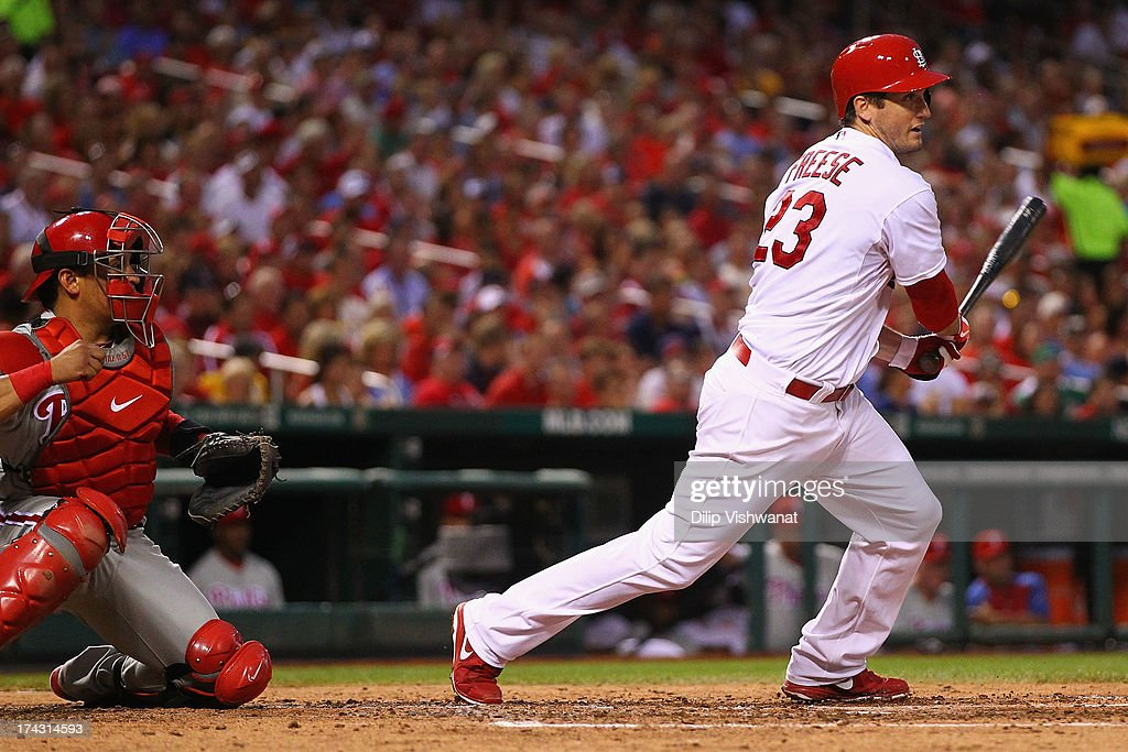<a gi-track='captionPersonalityLinkClicked' href=/galleries/search?phrase=David+Freese+-+Baseball+Player&family=editorial&specificpeople=4948315 ng-click='$event.stopPropagation()'>David Freese</a> #23 of the St. Louis Cardinals hits an RBI double against the Philadelphia Phillies in the fourth inning at Busch Stadium on July 23, 2013 in St. Louis, Missouri.