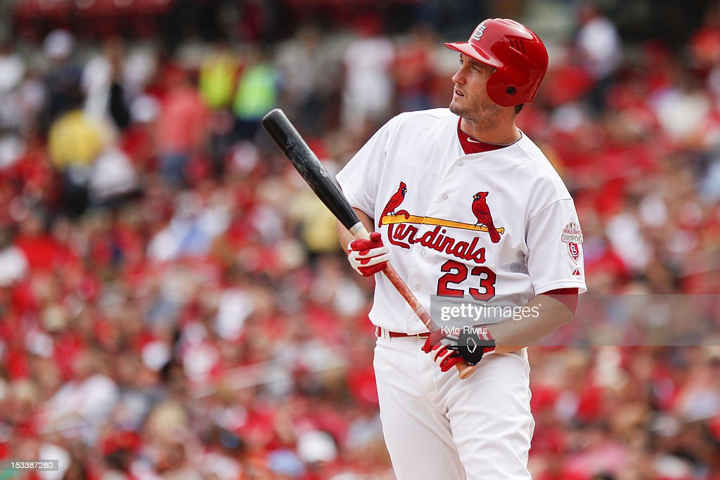 <a gi-track='captionPersonalityLinkClicked' href=/galleries/search?phrase=David+Freese+-+Baseball+Player&family=editorial&specificpeople=4948315 ng-click='$event.stopPropagation()'>David Freese</a> #23 of the St. Louis Cardinals reacts to a fouled off pitch against Washington Nationals in the second inning on September 30, 2012 at Busch Stadium in St. Louis, Missouri.