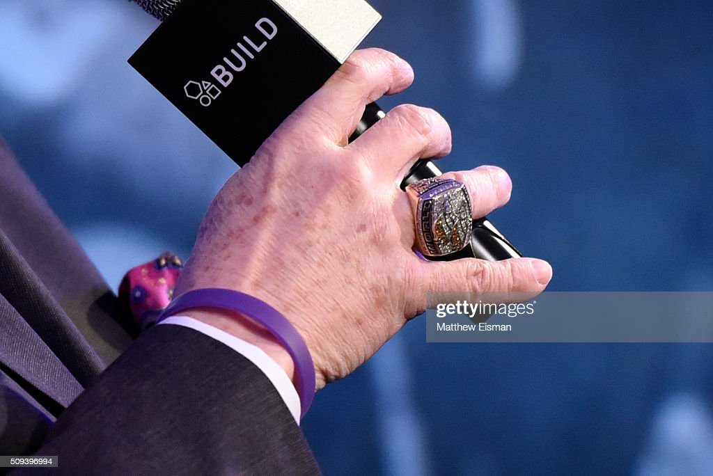 David Frei, jewelry detail of Denver Broncos NFL Super Bowl ring, attends AOL Build Speakers Series - David Frei, 140th Westminster Kennel Club Dog Show at AOL Studios In New York on February 10, 2016 in New York City.