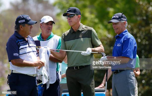 David Frost Bob Tway and Larry Mize during the second round of the Mitsubishi Electric Classic tournament at the TPC Sugarloaf Golf Club Saturday...