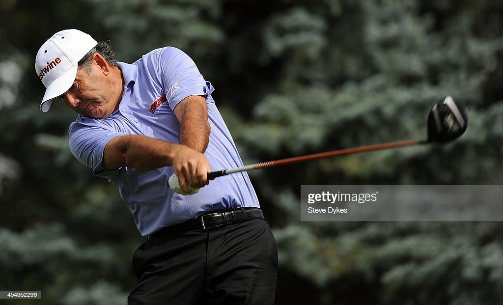 David Frost hits hits his drive on the fourth hole during the first round of the Shaw Charity Classic on August 29, 2014 in Calgary, Canada.