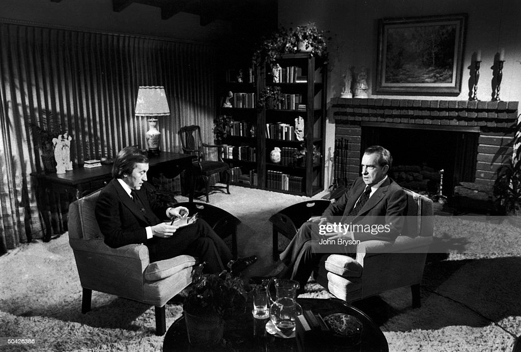 David Frost interviewing former Pres. Richard Nixon in rented house near Nixon's in San Clemente, CA.