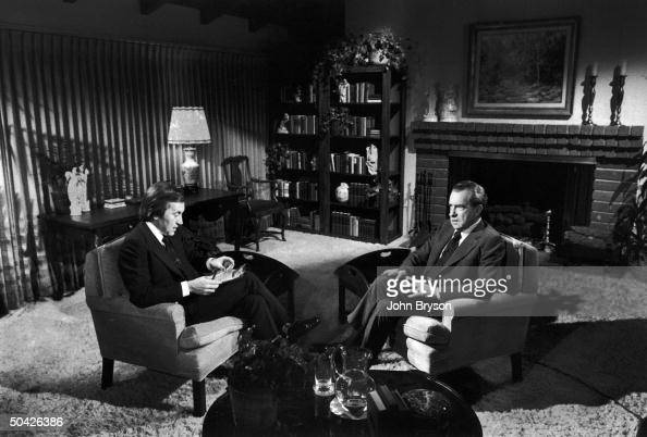 David Frost interviewing former Pres Richard Nixon in rented house near Nixon's in San Clemente CA