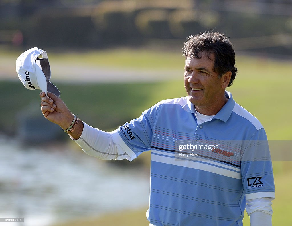 David Frost of South Africa celebrates his birdie on the 17th green on his way to a five shot win and a 19 under par score during the final round of the Toshiba Classic at the Newport Beach Country Club on March 17, 2013 in Newport Beach, California.