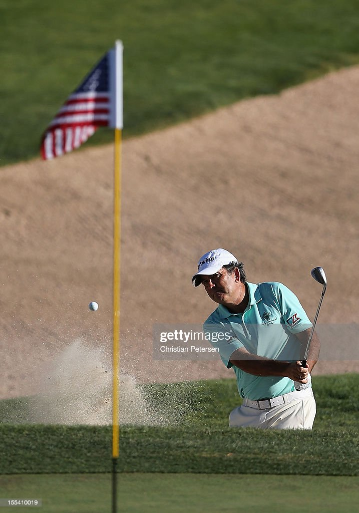 David Frost of South Africa chips from the bunker onto the 18th hole green during the third round of the Charles Schwab Cup Championship on the Cochise Course at The Desert Mountain Club on November 3, 2012 in Scottsdale, Arizona.