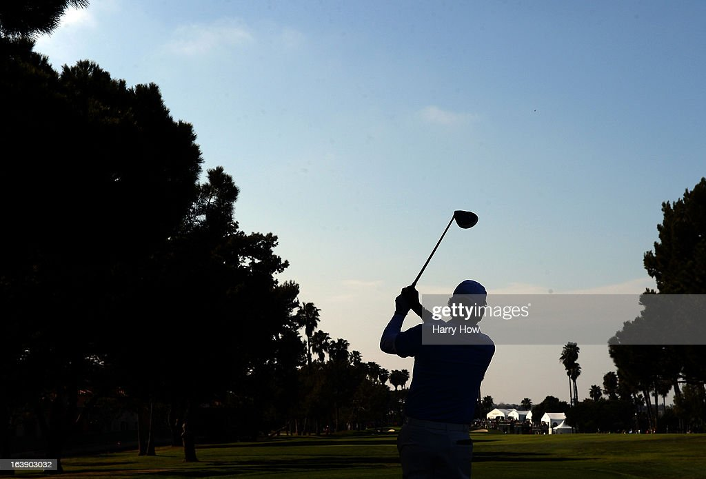 David Frost of South Africa hits a tee shot on the 16th hole on his way to a five shot win and a 19 under par score during the final round of the Toshiba Classic at the Newport Beach Country Club on March 17, 2013 in Newport Beach, California.