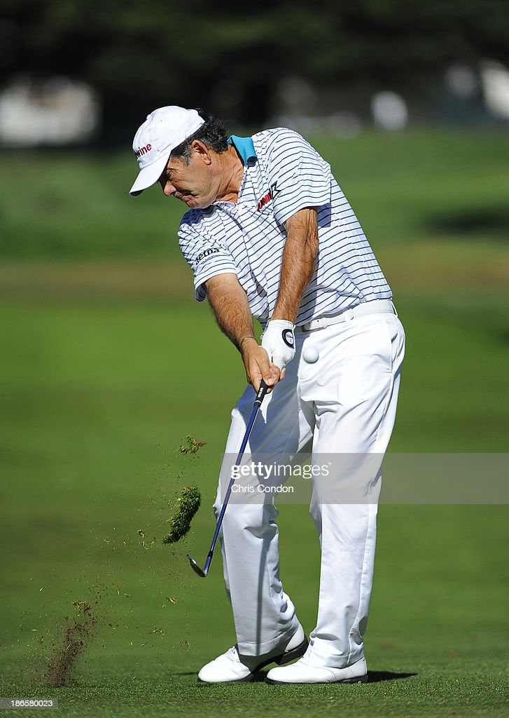 <a gi-track='captionPersonalityLinkClicked' href=/galleries/search?phrase=David+Frost+-+Golfer&family=editorial&specificpeople=158481 ng-click='$event.stopPropagation()'>David Frost</a> of South Africa hits his second shot on the 5th hole during the second round of the Charles Schwab Cup Championship at TPC Harding Park on November 1, 2013 in San Francisco, California.