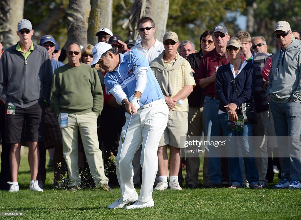 David Frost of South Africa hits out of the rough on the 16th hole on his way to a five shot win and a 19 under par score during the final round of the Toshiba Classic at the Newport Beach Country Club on March 17, 2013 in Newport Beach, California.