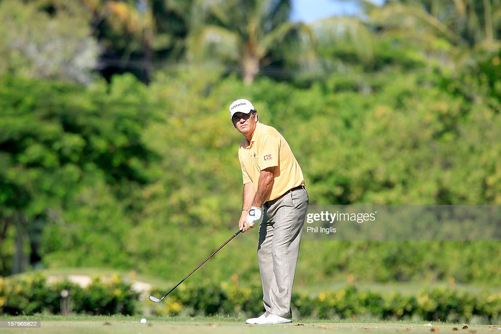 David Frost of South Africa in action on the 16th tee during the second round of the MCB Tour Championship played at the Legends Course, Constance Belle Mare Plage on December 8, 2012 in Poste de Flacq, Mauritius.