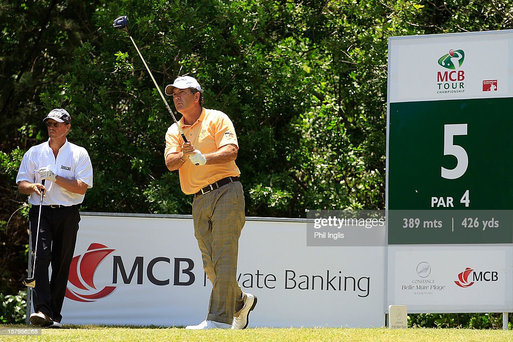 David Frost of South Africa plays from the 5th tee during the second round of the MCB Tour Championship played at the Legends Course, Constance Belle Mare Plage on December 8, 2012 in Poste de Flacq, Mauritius.