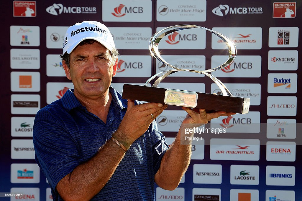 David Frost of South Africa poses with the trophy after the final round of the MCB Tour Championship played at the Legends Course, Constance Belle Mare Plage on December 9, 2012 in Poste de Flacq, Mauritius.