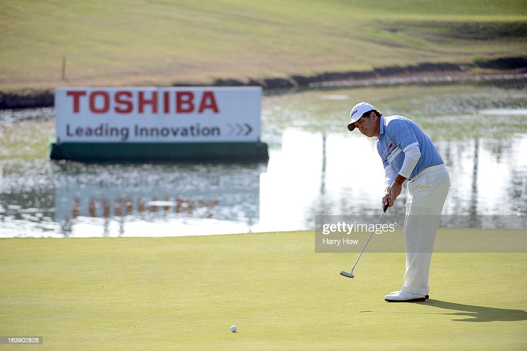 David Frost of South Africa putts for a birdie on the 17th green on his way to a five shot win and a 19 under par score during the final round of the Toshiba Classic at the Newport Beach Country Club on March 17, 2013 in Newport Beach, California.