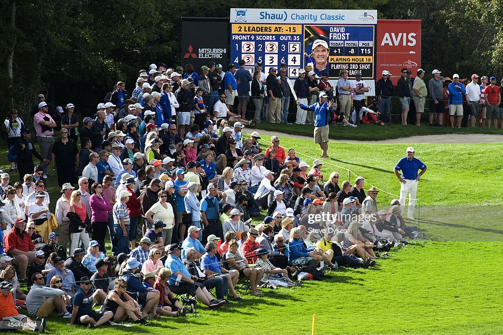 David Frost of South Africa talks with people in the gallery on the 18th fairway during the final round of the Shaw Charity Classic at the Canyon Meadows Golf & Country Club on August 31, 2014 in Calgary, Canada.