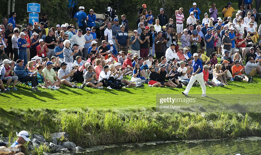 David Frost of South Africa walks past the gallery on his way to the 18th green during the final round of the Shaw Charity Classic at the Canyon Meadows Golf & Country Club on August 31, 2014 in Calgary, Canada.